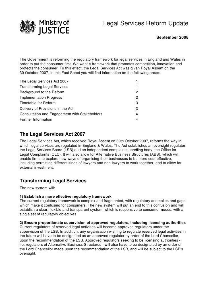 Legal Services Reform Update                                                                                      Septe