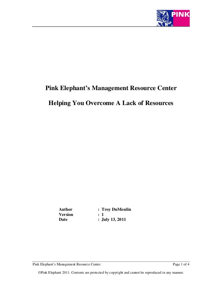 Pink Elephant's Management Resource Center         Helping You Overcome A Lack of Resources                Author         ...