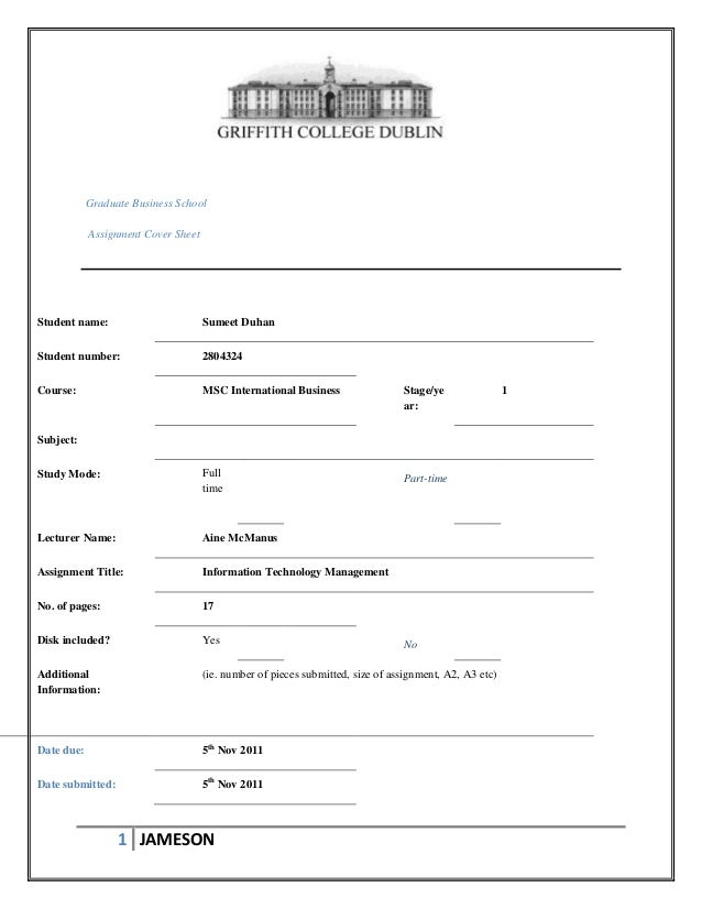 Graduate Business School Assignment Cover Sheet  Student name:  Sumeet Duhan  Student number:  2804324  Course:  MSC Inter...