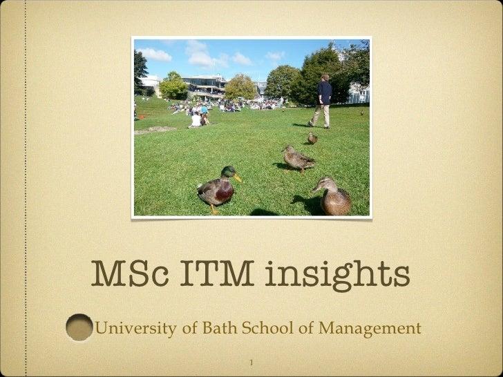 MSc ITM insights <ul><li>University of Bath School of Management </li></ul>