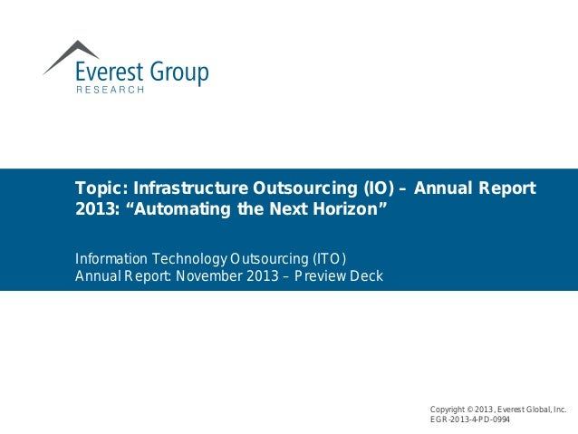 """Infrastructure Outsourcing (IO) – Annual Report 2013: """"Automating the Next Horizon"""""""