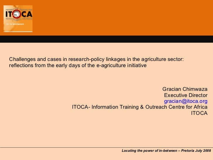 Itoca Research   Policy Linkages In Agriculture Sector
