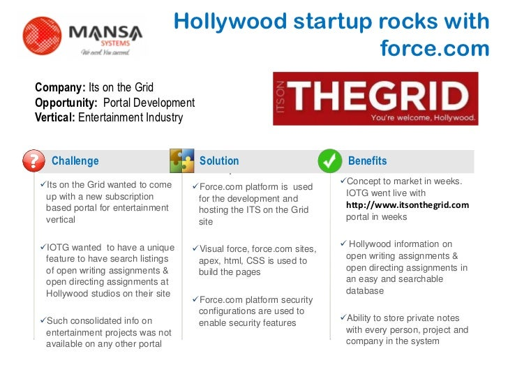 Hollywood startup rocks with                                                        force.comCompany: Its on the GridOppor...