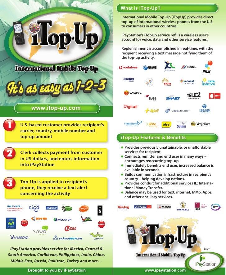 Bifold brochure for International Mobile Top-Up
