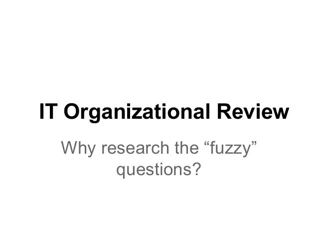 """IT Organizational Review Why research the """"fuzzy"""" questions?"""