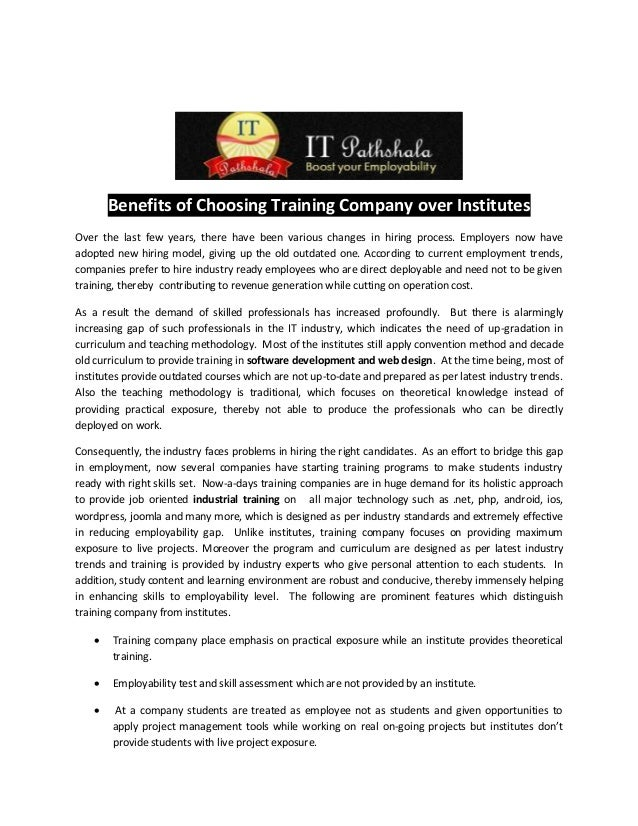 Benefits of Choosing Training Company over InstitutesOver the last few years, there have been various changes in hiring pr...