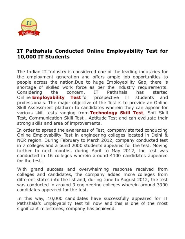 IT Pathshala Conducted Online Employability Test for10,000 IT StudentsThe Indian IT Industry is considered one of the lead...