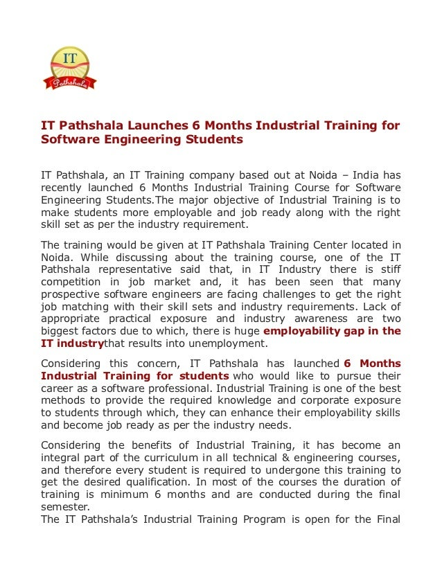 IT Pathshala Launches 6 Months Industrial Training forSoftware Engineering StudentsIT Pathshala, an IT Training company ba...