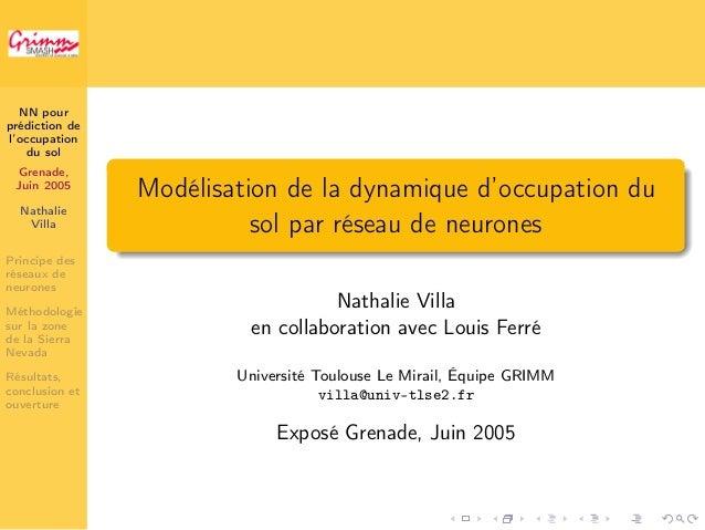 NN pour  prédiction de  l'occupation  du sol  Grenade,  Juin 2005  Nathalie  Villa  Principe des  réseaux de  neurones  Mé...