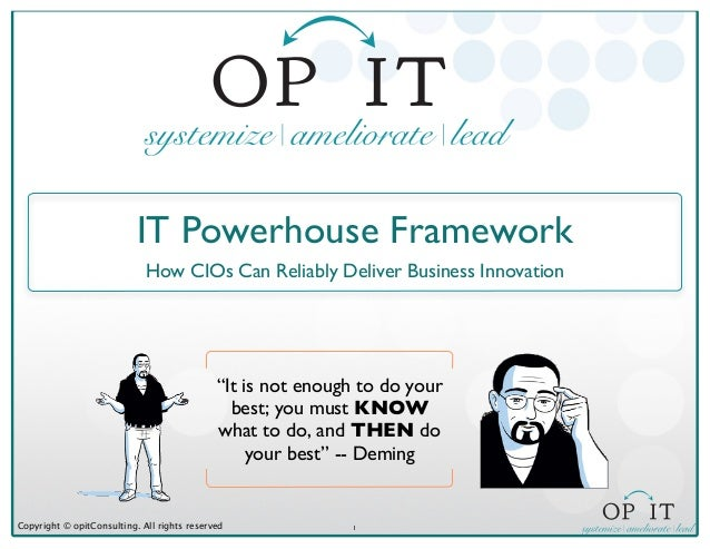 """1Copyright © opitConsulting. All rights reservedIT Powerhouse FrameworkHow CIOs Can Reliably Deliver Business Innovation""""I..."""