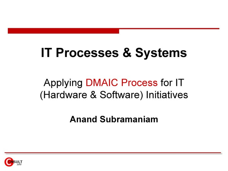 IT Processes & Systems Applying  DMAIC Process  for IT (Hardware & Software) Initiatives Anand Subramaniam