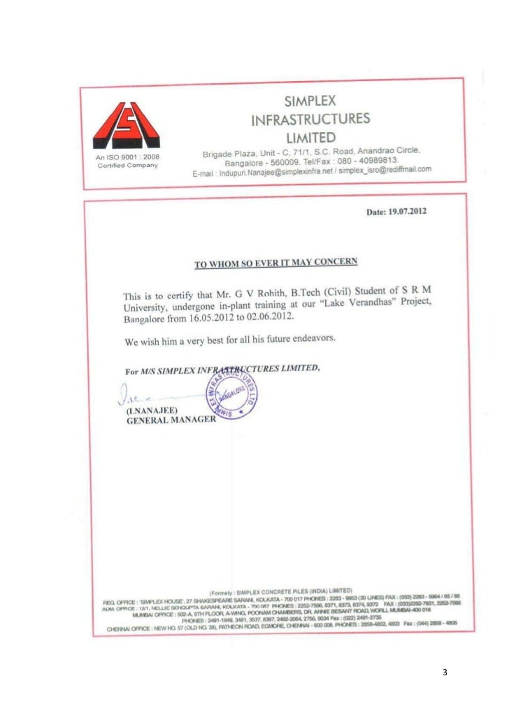 experience certificate format letter for civil engineer