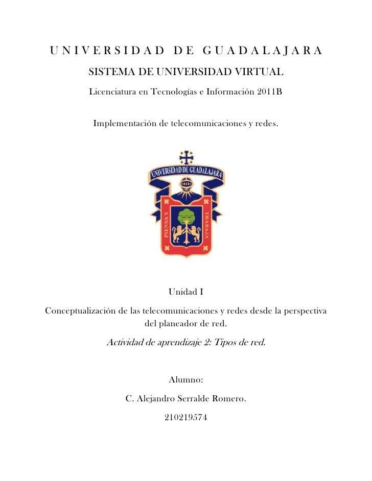 UNIVERSIDAD DE GUADALAJARA           SISTEMA DE UNIVERSIDAD VIRTUAL           Licenciatura en Tecnologías e Información 20...