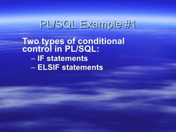 PL/SQL Example for IF .. ELSIF