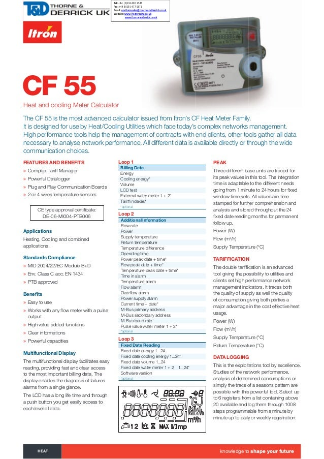 CF 55Heat and cooling Meter Calculator FEAtURES ANd BENEFitS » Complex Tariff Manager » Powerful Datalogger » Plug and Pla...