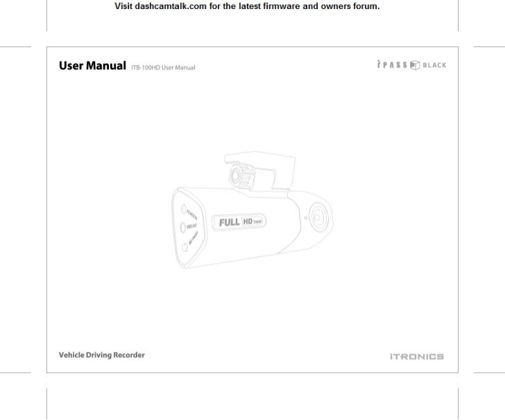 Itronics ITB-100HD User Manual
