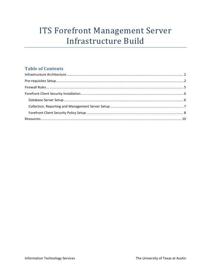 ITS Forefront Management Server Infrastructure Build