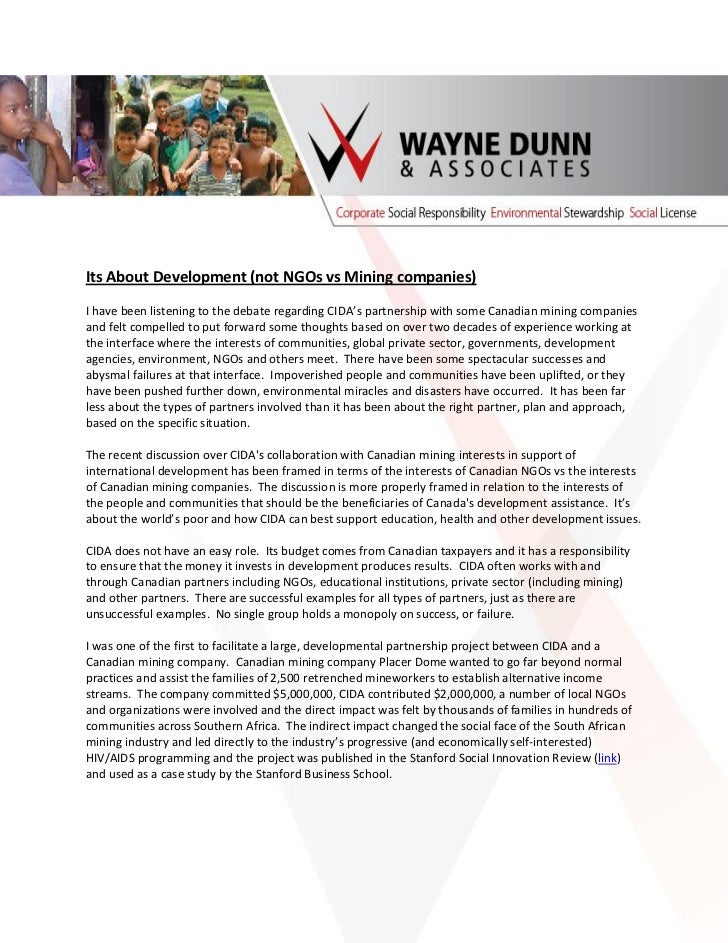 Its about development:  Commentary on CIDA and Mining Companies