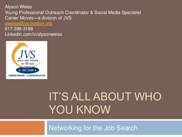 Alyson WeissYoung Professional Outreach Coordinator & Social Media SpecialistCareer Moves—a division of JVSaweiss@jvs-bost...