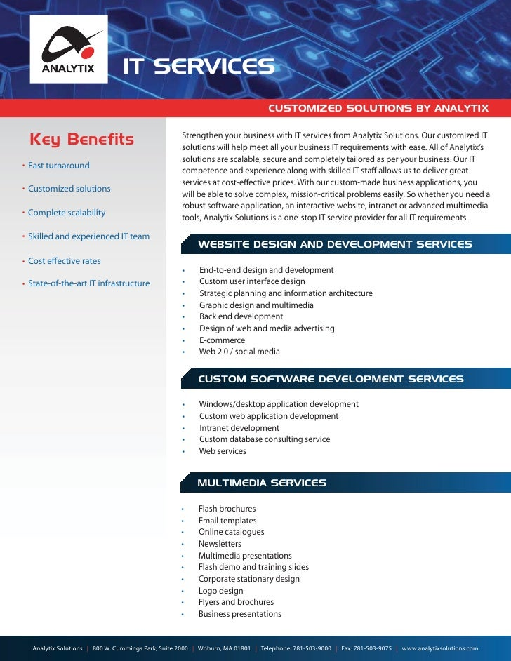 IT SERVICES                                                                               CUSTOMIZED SOLUTIONS BY ANALYTIX...