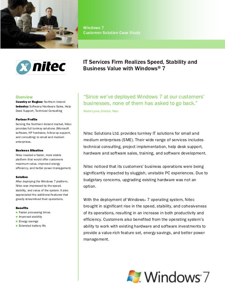 IT Services Firm Realizes Speed, Stability and Business Value with Windows 7 Professional