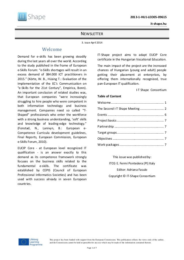 2013-1-HU1-LEO05-09615 it-shape.hu NEWSLETTER 3. issue April 2014 Page 1 of 7 This project has been funded with support fr...