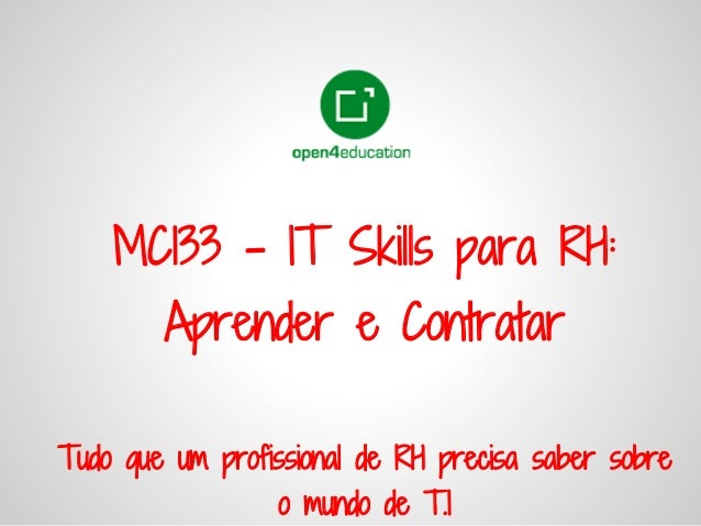 It skills para rh  aprender e contratar