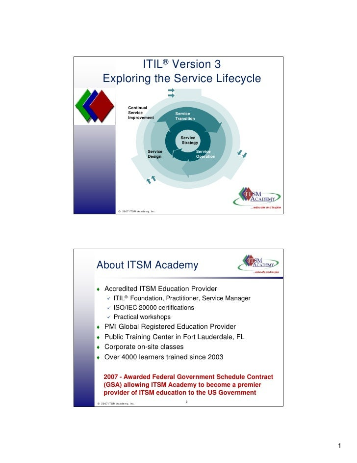 ITIL® Version 3    Exploring the Service Lifecycle                      Continual                     Service             ...
