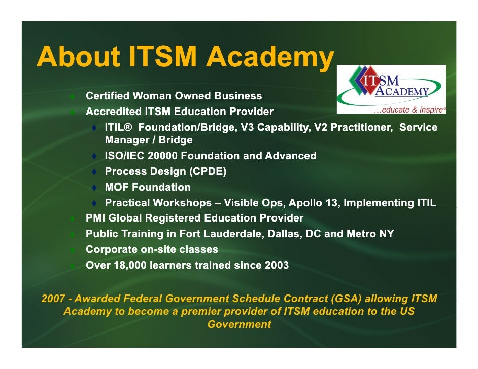 About ITSM Academy                  y         Certified Woman Owned Business         Accredited ITSM Education Provider   ...