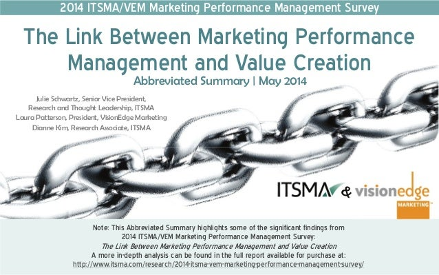 2014 ITSMA/VEM Marketing Performance Management Survey The Link Between Marketing Performance Management and Value Creation