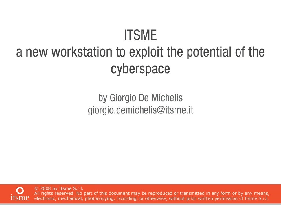 Itsme  A New Workstation To Exploit The Potential Of The Cyberspace 02