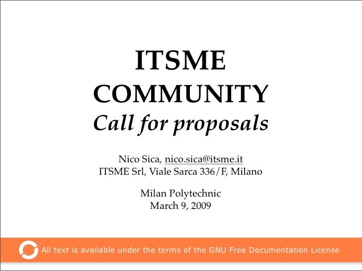ITSME             COMMUNITY             Call for proposals                  Nico Sica, nico.sica@itsme.it               IT...