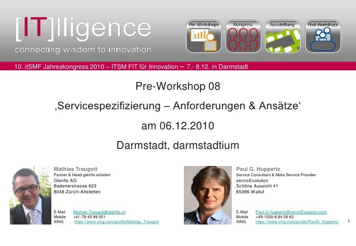 itSMF-Kongress 2010 - Pre-Workshop 'Servicespezifizierung' 2010-12-06 V01.00.01