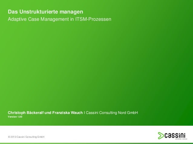 Das Unstrukturierte managen Adaptive Case Management in ITSM-Prozessen  Christoph Bäckeralf und Franziska Wauch I Cassini ...