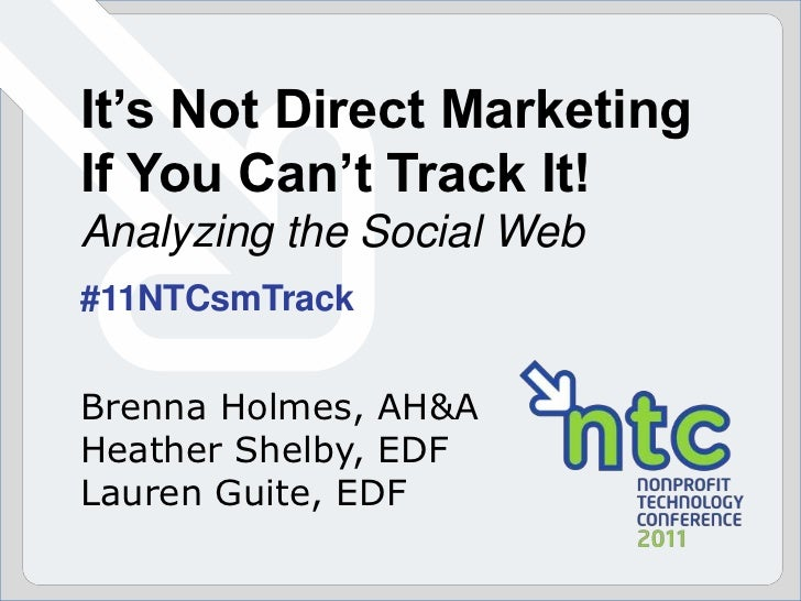 It's Not Direct Marketing If You Can't Track It! Analyzing the Social Web<br />#11NTCsmTrack<br />Brenna Holmes, AH&A<br /...