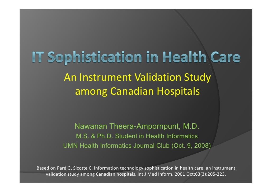 An Instrument Validation Study                among Canadian Hospitals                    Nawanan Theera-Ampornpunt, M.D. ...