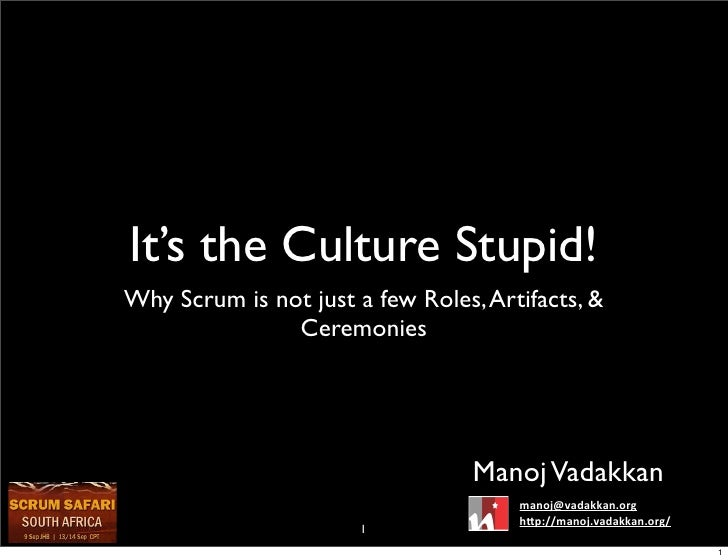 It's the culture, stupid!