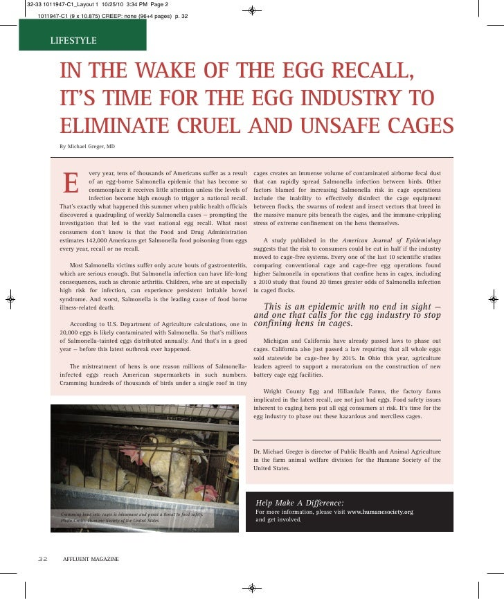LIFESTYLE      IN THE WAKE OF THE EGG RECALL,      IT'S TIME FOR THE EGG INDUSTRY TO      ELIMINATE CRUEL AND UNSAFE CAGES...