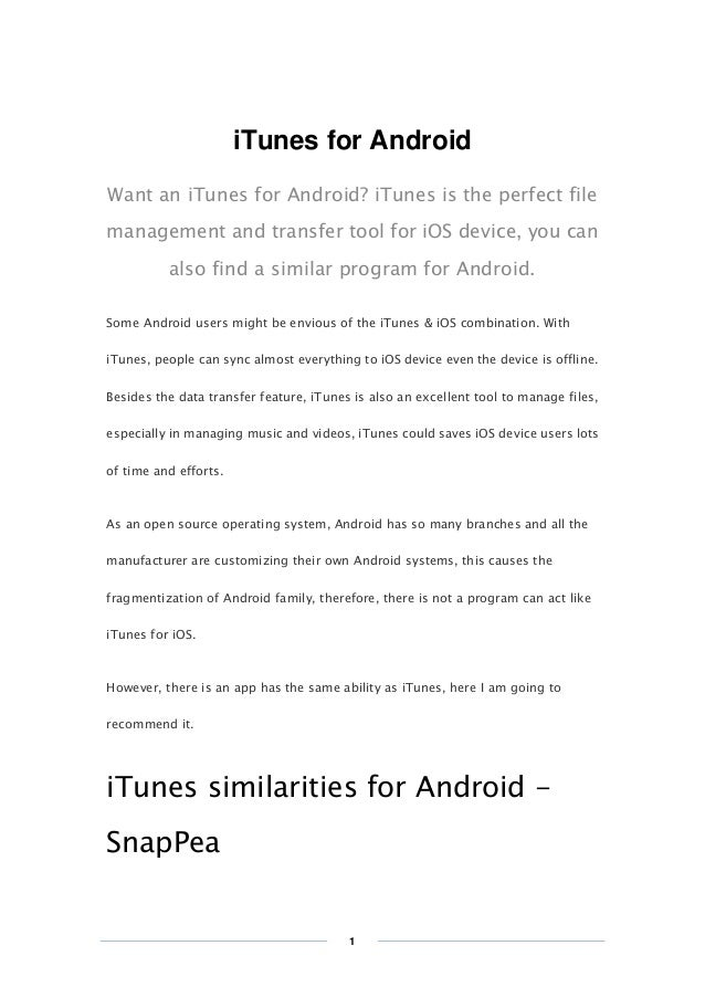 【Hot】Itunes for android