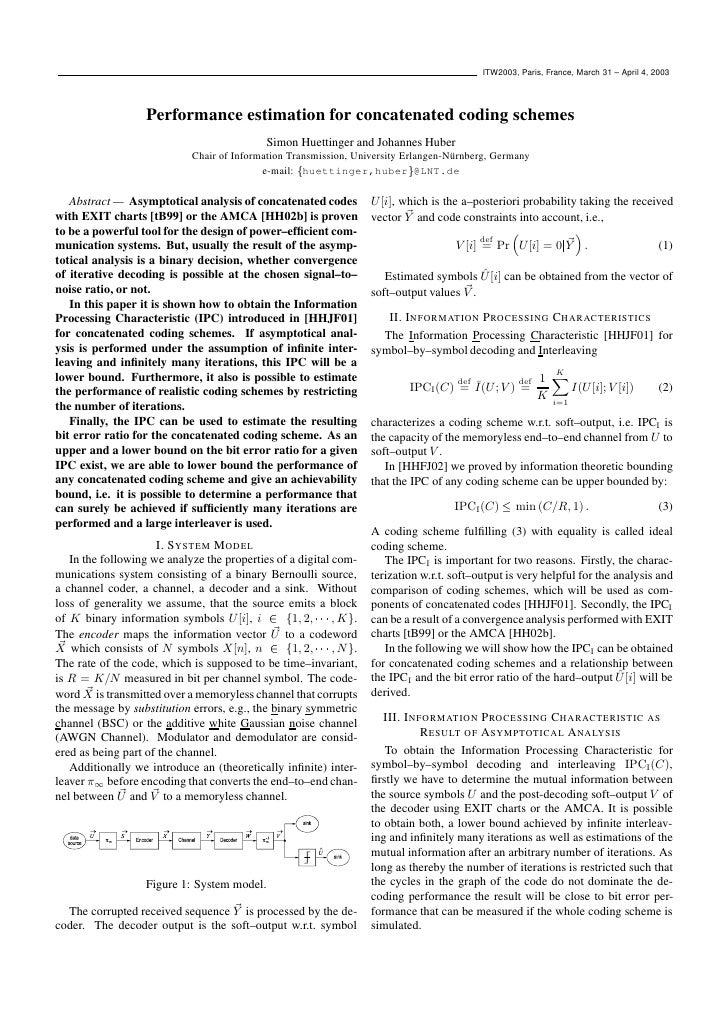 ITW2003, Paris, France, March 31 – April 4, 2003                       Performance estimation for concatenated coding sche...