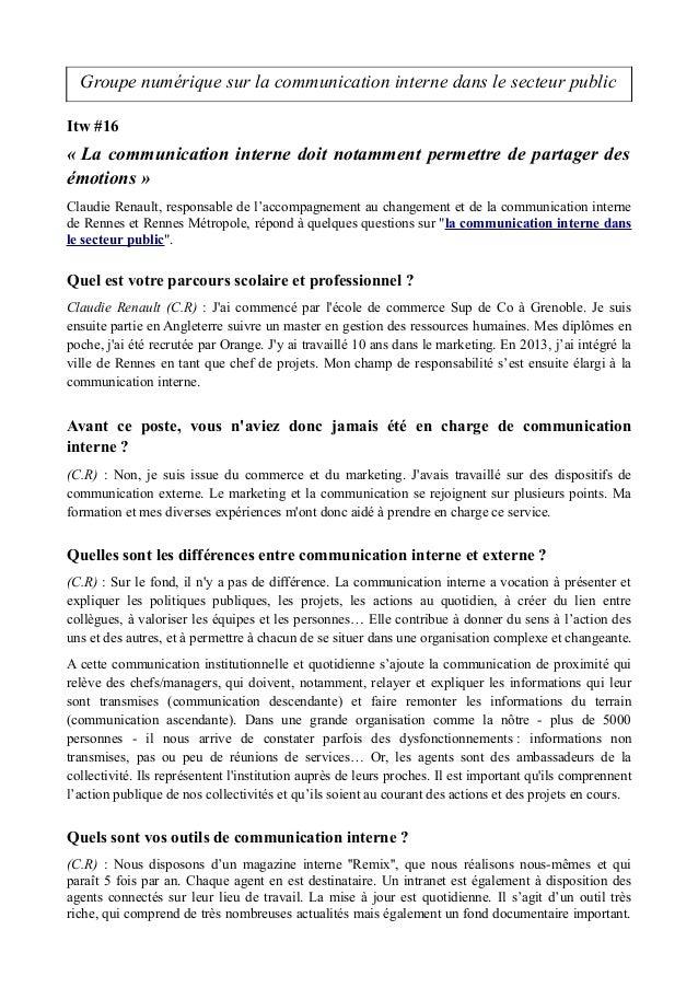 Groupe numérique sur la communication interne dans le secteur public Itw #16 « La communication interne doit notamment per...
