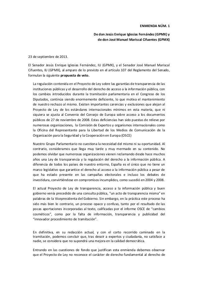 VETO a la Ley de Transparencia en el Senado por Jesús Enrique Iglesias Fernández (GPMX) y José Manuel Mariscal Cifuentes (GPMX)