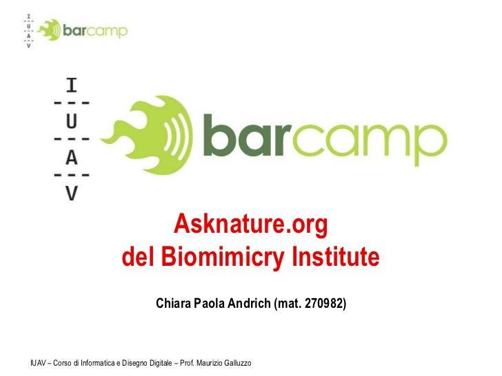 IUAV – Corso di Informatica e Disegno Digitale – Prof. Maurizio Galluzzo<br />Asknature.orgdel BiomimicryInstitute<br />Ch...
