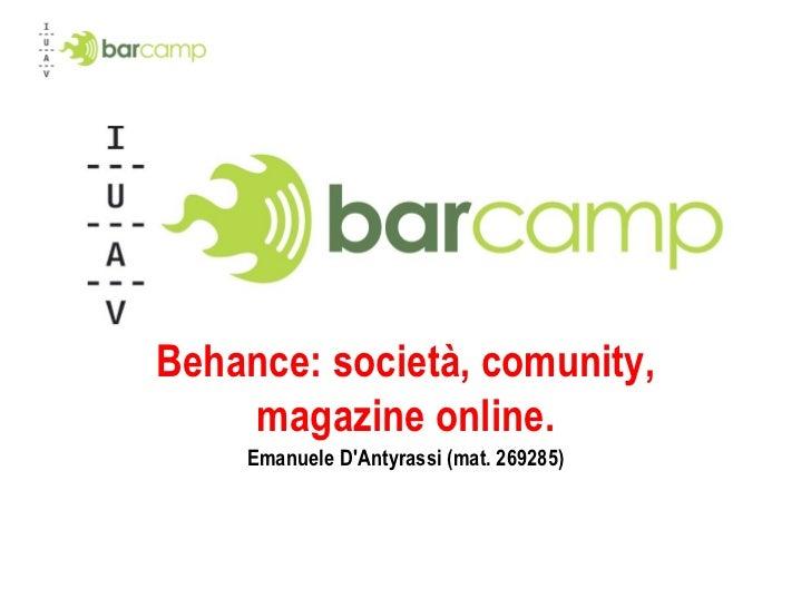 Behance: società, comunity, magazine online. Emanuele D'Antyrassi (mat. 269285)