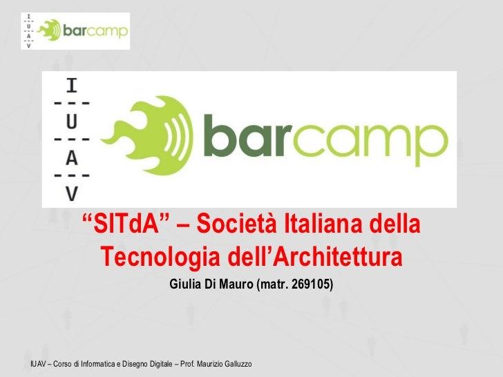 """""""SITdA"""" – Società Italiana della                 Tecnologia dell'Architettura                                             ..."""