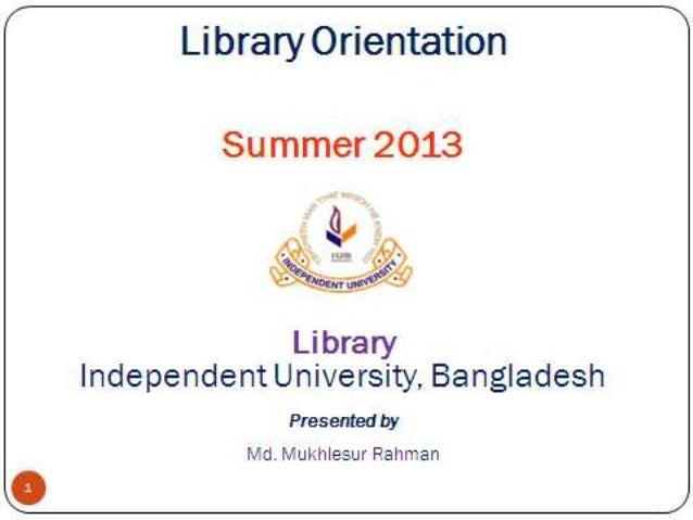 IUB Library Orientation class