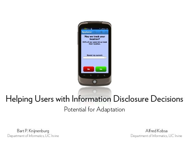 Helping Users with Information Disclosure Decisions                                       Potential for Adaptation      Ba...