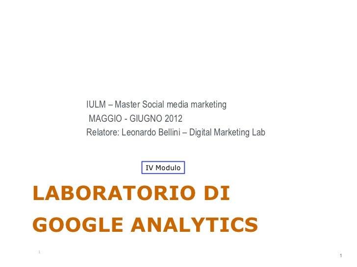 Laboratorio Google Analytics: iV Modulo