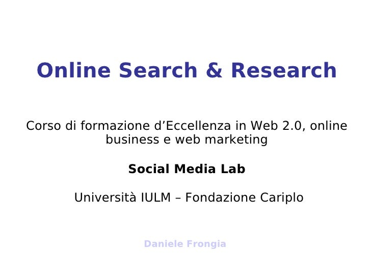 Social Media Lab - Search & Research - Daniele Frongia