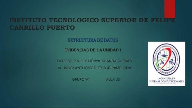 INSTITUTO TECNOLOGICO SUPERIOR DE FELIPE  CARRILLO PUERTO  EXTRUCTURA DE DATOS  EVIDENCIAS DE LA UNIDAD I  DOCENTE: NIELS ...